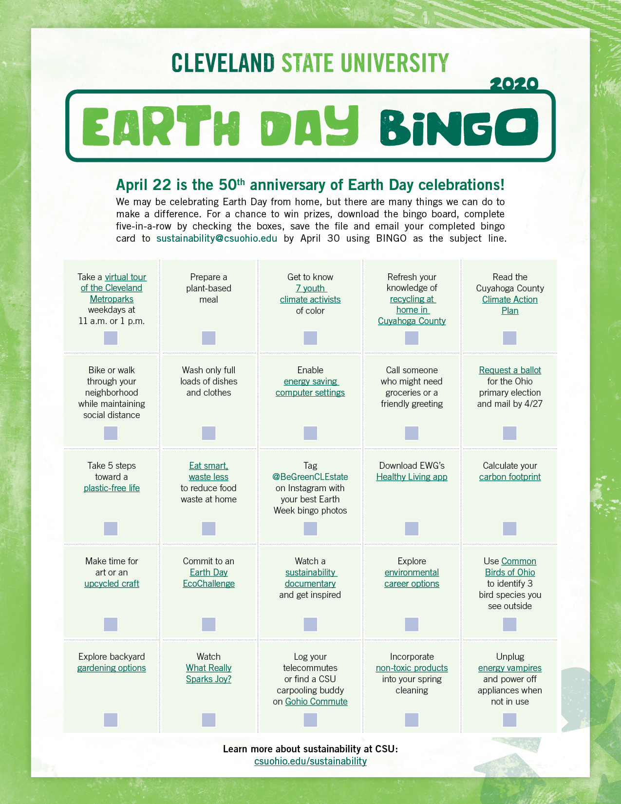 CSU Earth Day BINGO