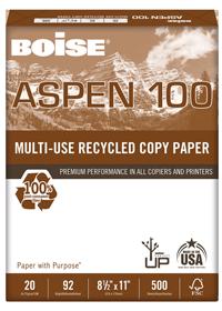 Boise Aspen 100 percent recycled paper