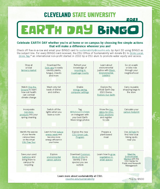 CSU Earth Day BINGO 2021