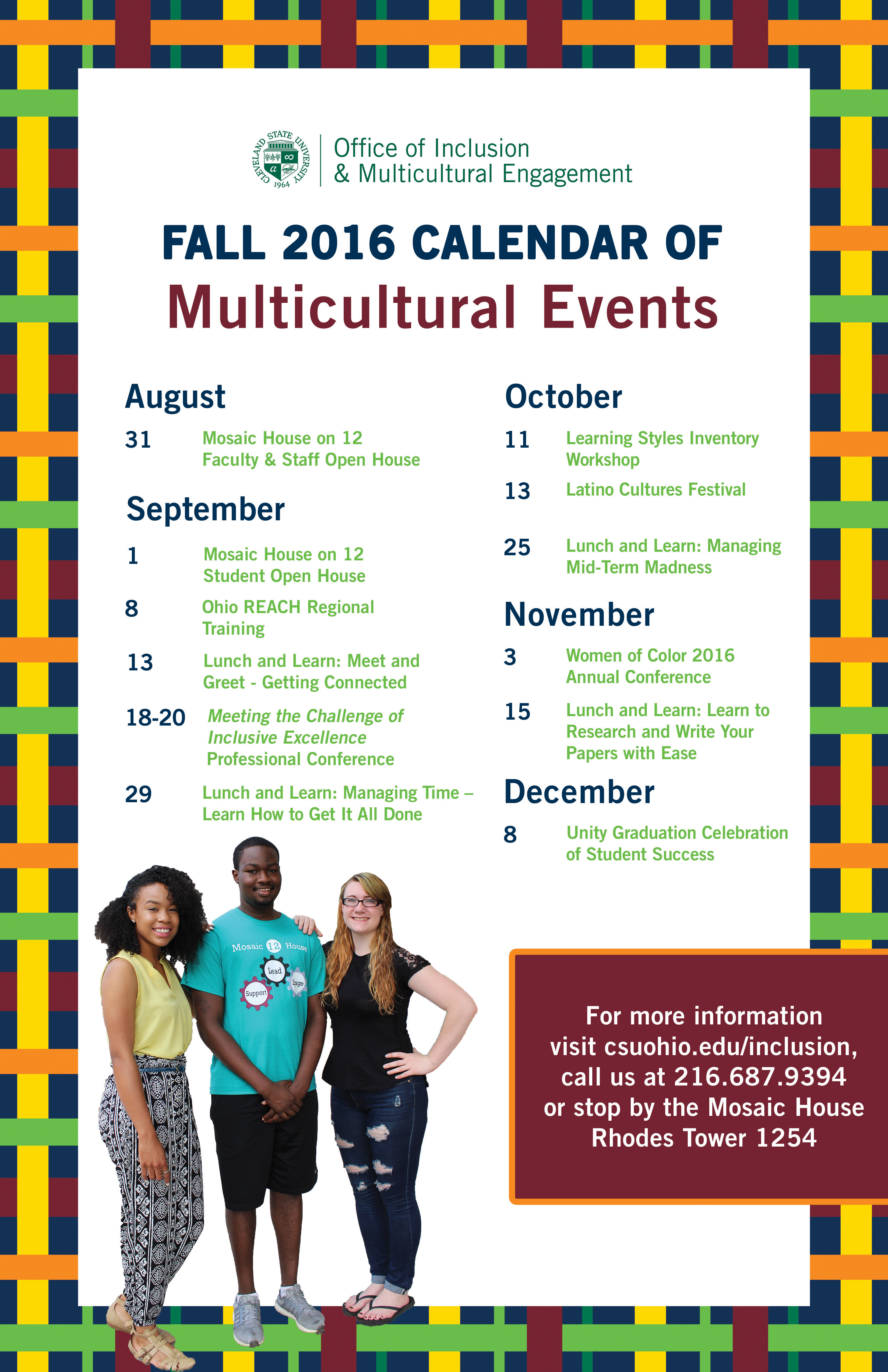 Fall 2016 Calendar - Office of Inclusion and Multicultural Engagement at Cleveland State University
