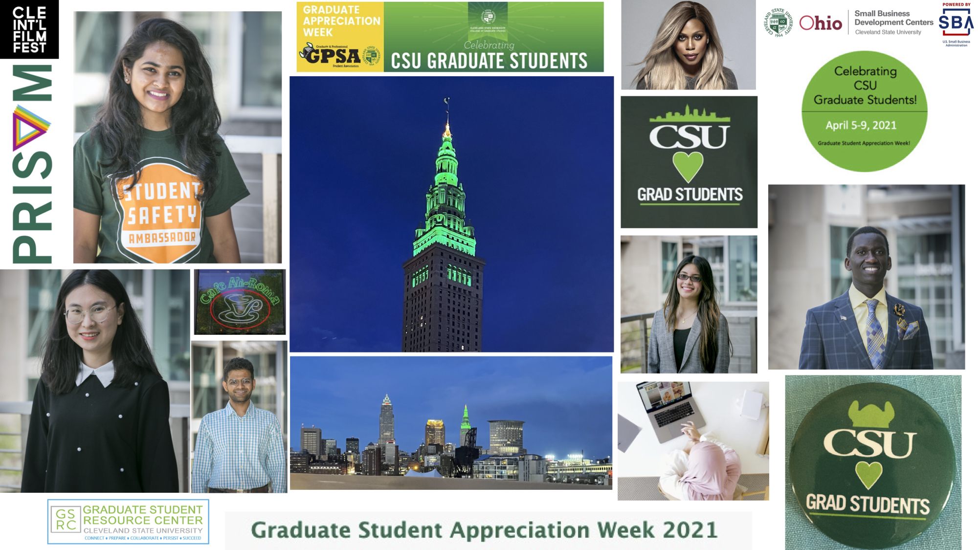 Collage that highlights events from GSAW 2021. It includes photos of graduate students, terminal tower, logos, and advertisement art from the week.