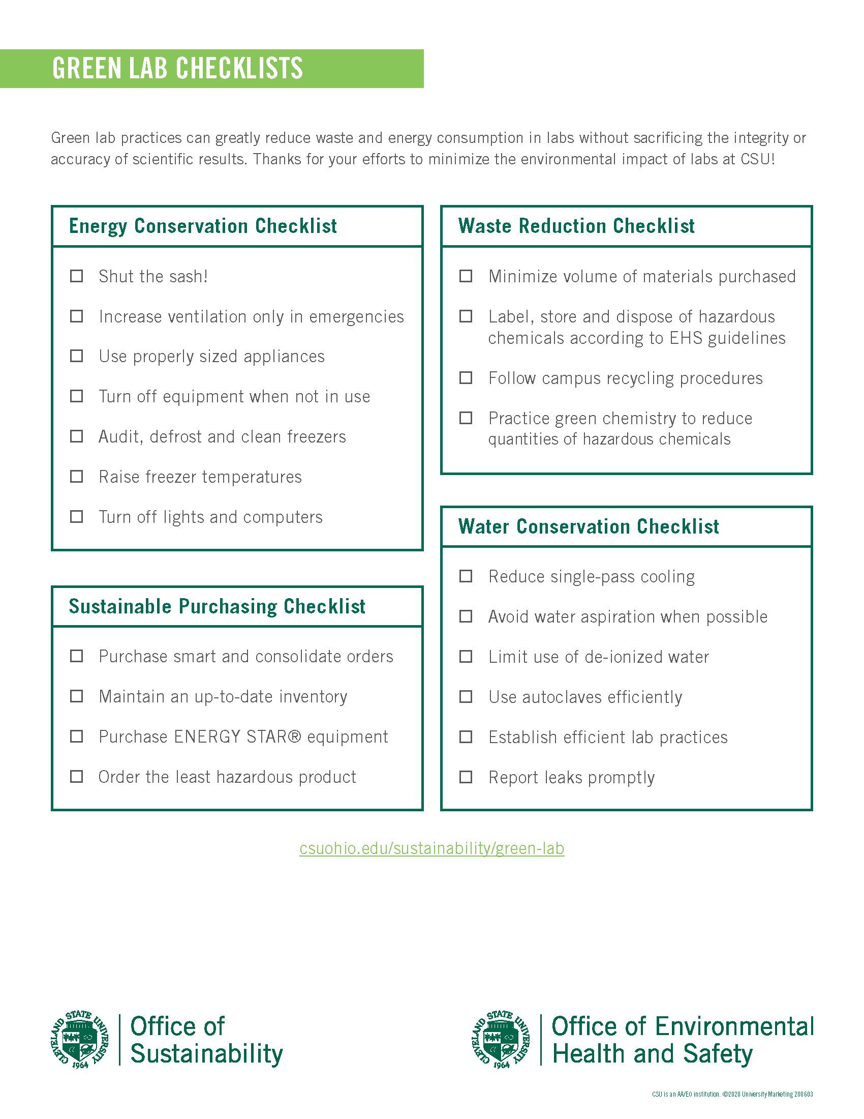 Green Lab Checklist