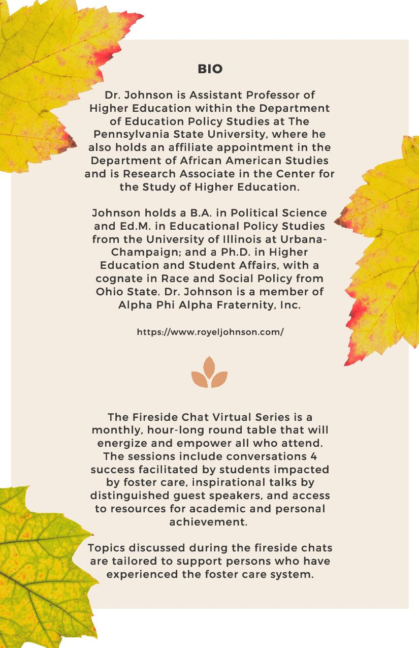 Oct. Fireside Chat Flyer feat. Dr. Johnson