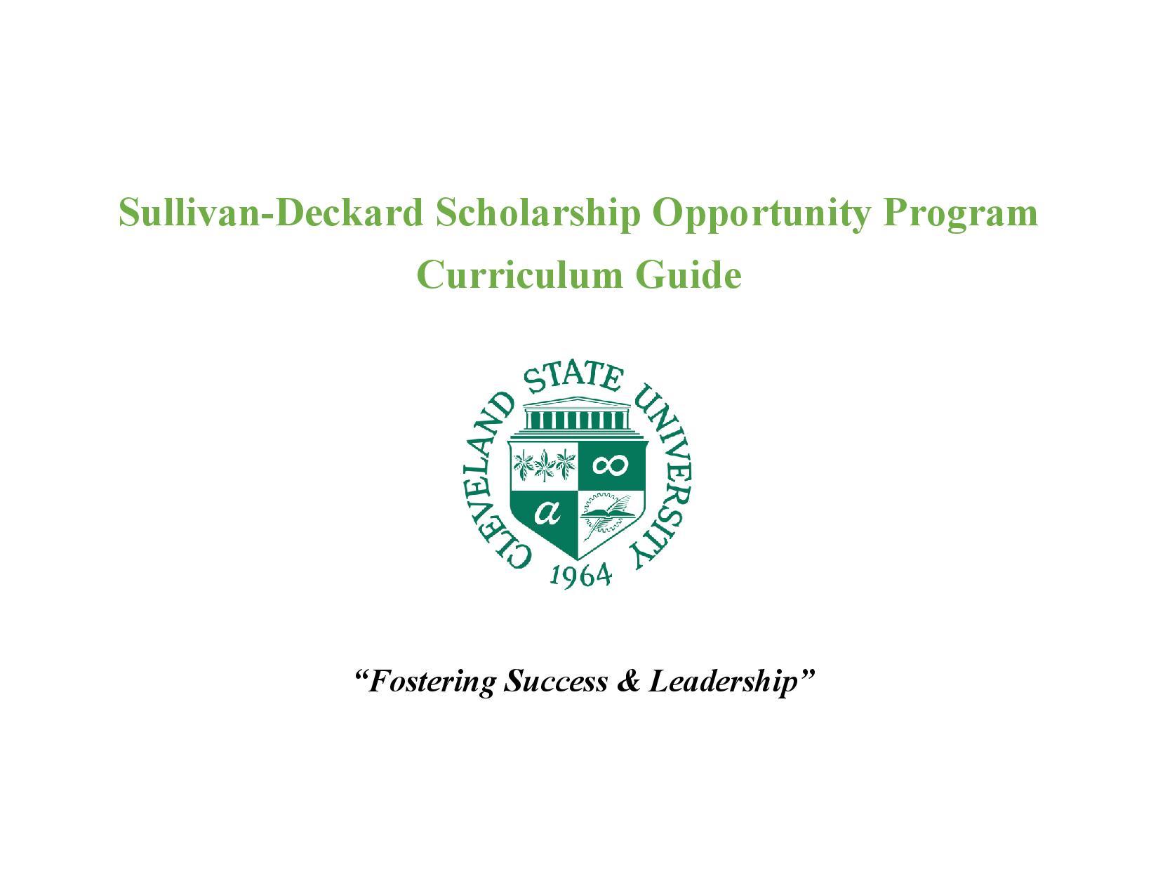 Suliivan-Deckard Scholarship Curriculum Guide