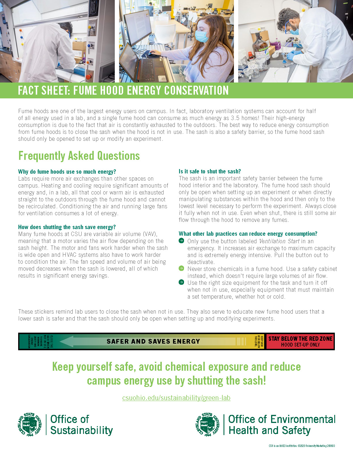 Shut the Sash - Fume Hoods and Energy Conservation Fact Sheet