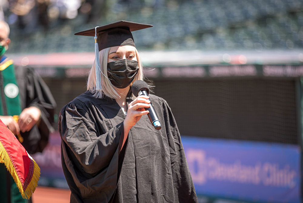 Student at Spring 2021 Commencement giving a speech