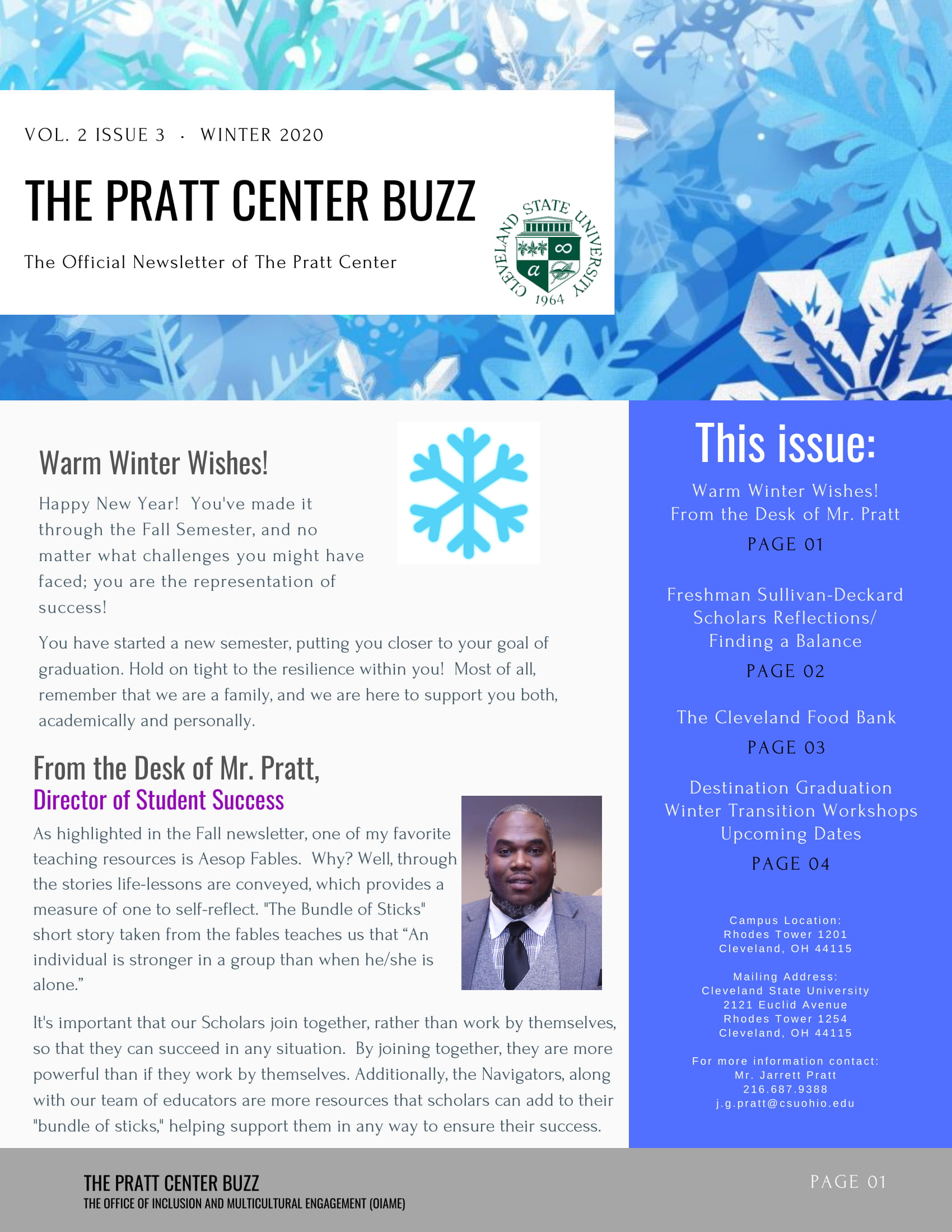 PRATT CENTER NEWSLETTER-FALL 2020