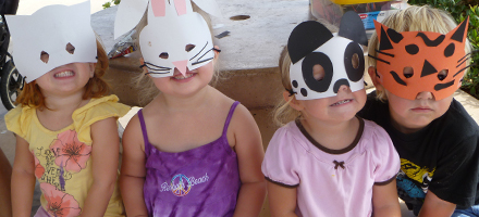 campers with animal masks