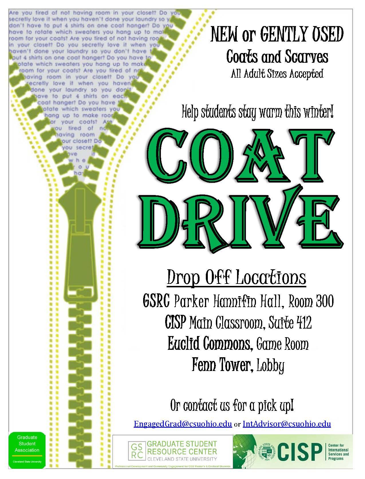 Grad Student Coat Drive | Cleveland State University
