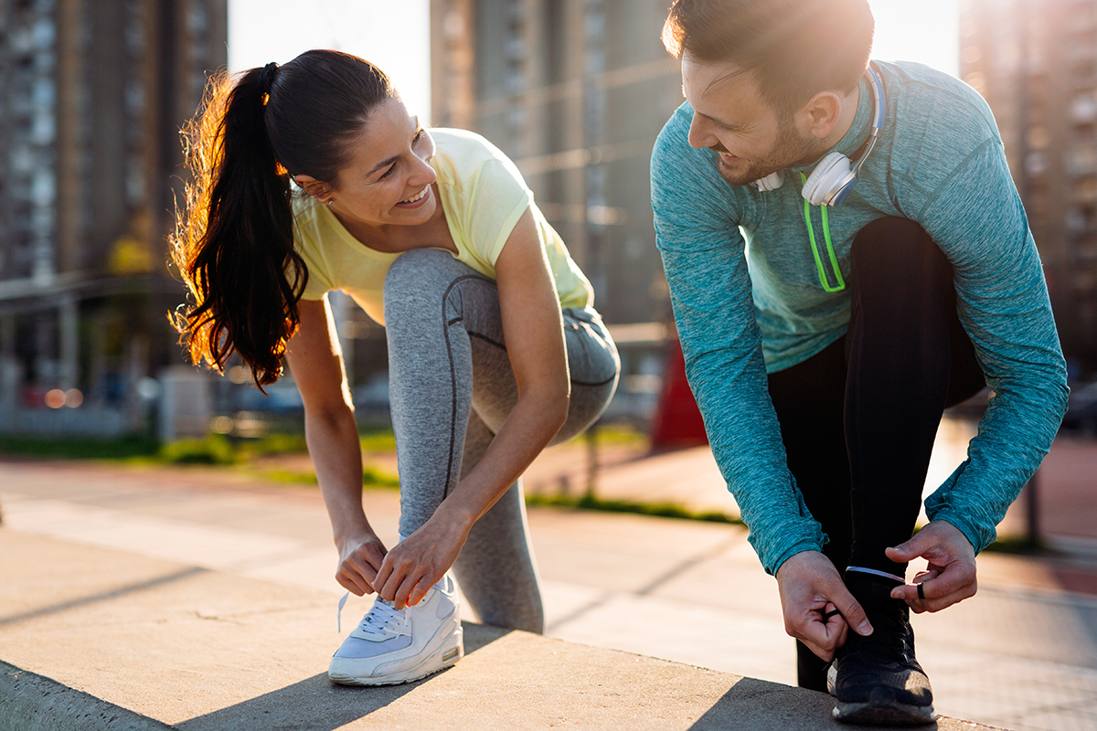 couple happy working out together