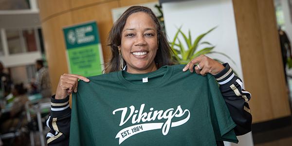 Female student showing Viking pride