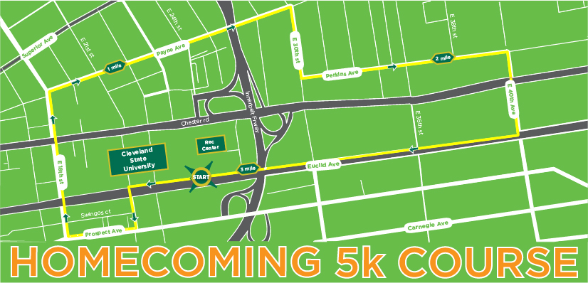 CSU Rec Homecoming 5K Race Route 2017