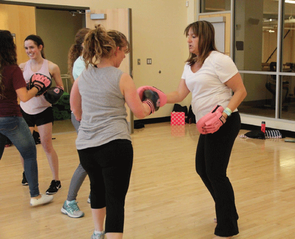 Michelle Rieger instructing Pink Gloves Boxing
