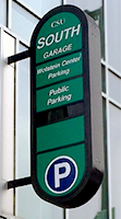 The sign for the South Garage