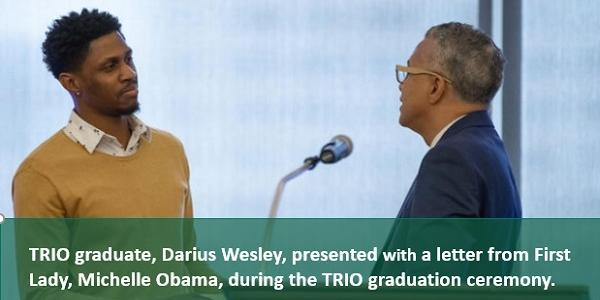 TRIO graduate presented with letter from Michelle Obama