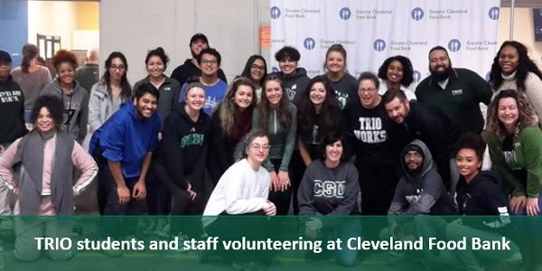 TRIO students and staff volunteering at the Cleveland Foodbank