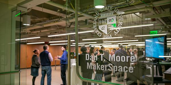 Dan T Moore Makerspace vinyl room ID sign