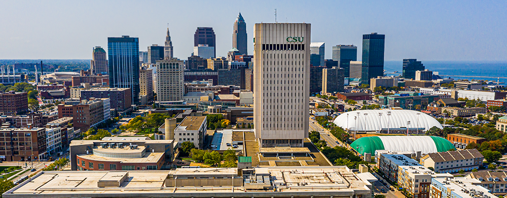 aerial view of Cleveland State University campus and downtown Cleveland
