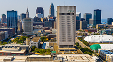Rhodes Tower and the Cleveland skyline